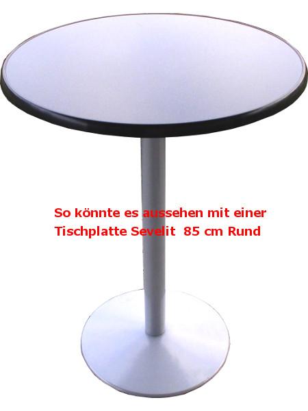 Stehtisch mit Bodenplatte in Silber und Tischplatte Sevelit in 85 cm