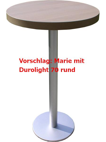 Stehtisch MARIE mit einer Tischplatte Durolight mit 5 cm Höhe. Das erhöht die Gesamthöhe auf ca. 17 cm.