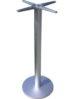 Schlichter Stehtisch aus Aluminium mit Bodenplatte und Mittesäule. Tischplatten bis max. 70 cm geeignet!