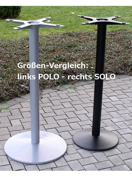 Groessenvergleich Stehtische SOLO und POLO. Stehtische mit schwerer Bodenplatte für kleine und grosse Tischplatten