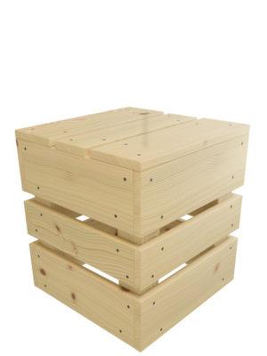 Würfel aus Holz als Sitzhocker in Palettenoptik: Das ist JUPP!