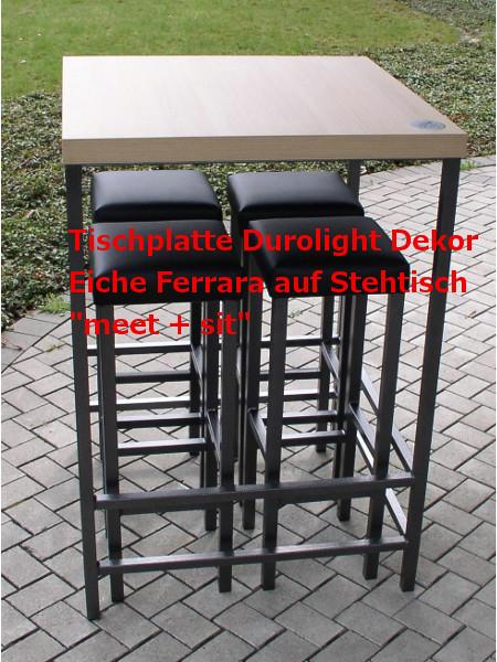 Stehtisch meet + sit mit Tischplatte Durolight Eiche Ferrara