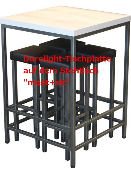 So könnte es aussehen: Tischplatte Durolight auf Stehtisch meet + sit
