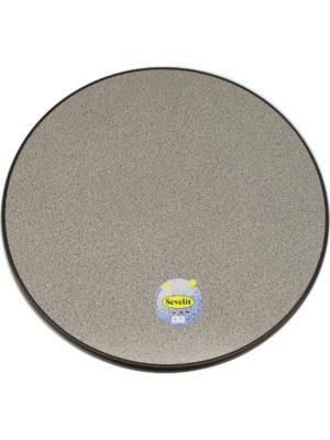 Tischplatte Sevelit im Dekor Granit dunkel mit schwarzer Kante