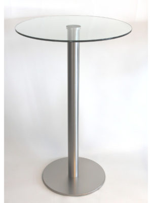 Schicker Stehtisch aus Edelstahl mit Glasplatte: Das ist Tiffany!