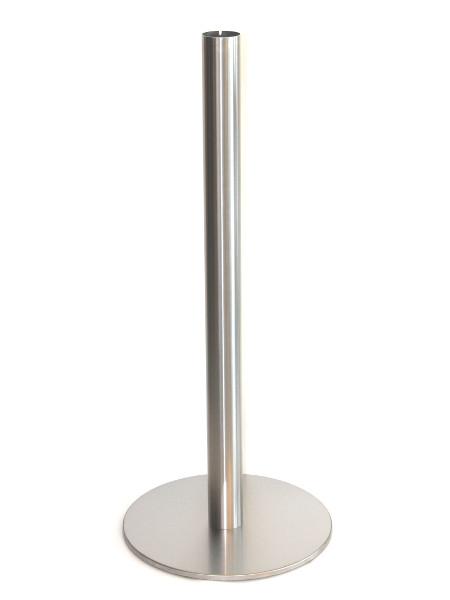 Stehtisch Tiffany: Säule und Bodenplatte vor der Montage der Tischplatte aus Glas. Edelstahl-Feinschliff