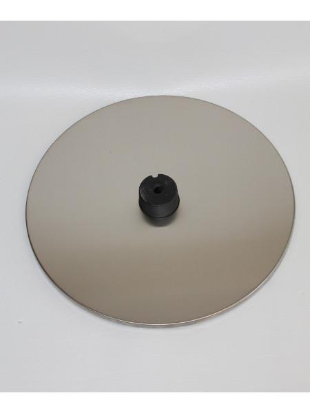 Stehtisch Tiffany: Bodenplatte vor der Montage. Edelstahl-Feinschliffe
