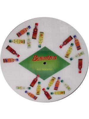 Berentzen-Schnapsflaschen auf weißer Tischplatte- Sonderanfertigung