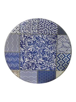 Tischplatte in 70 cm Durchmesser im Dekor CIMENT BLEU