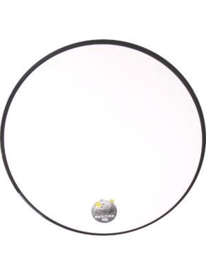 Sevelitplatte in 85 cm Durchmesser mit weisser Oberfläche und schwarzem Rand